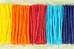 Colorful ropes on Tissue paper Royalty Free Stock Image