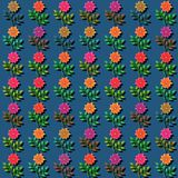 Colorful rose blossoms in seamless design of blue green red orange shades vector illustration