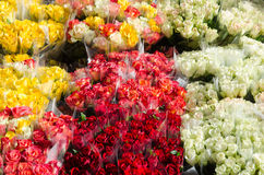 Colorful rose bouquets. For sale at a flower market stock images