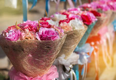 Colorful of rose fabric artificial flowers Royalty Free Stock Image