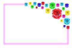 Colorful rose flower frame Stock Image