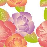 Colorful rose flower seamless pattern vector illustration