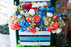 Colorful of rose flowers. Colorful of rose flowers in basket Stock Images