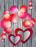 Colorful rose petals and hearts Royalty Free Stock Images