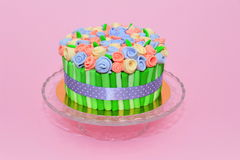 Colorful roses bouquet fondant cake Royalty Free Stock Photos