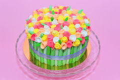 Colorful roses bouquet fondant cake Royalty Free Stock Images