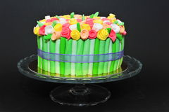 Colorful roses bouquet fondant cake Stock Photo