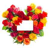 Colorful roses bouquet in heart shape. Gift card fot Your text. Colorful roses bouquet in heart shape on white background. Gift card fot Your text Royalty Free Stock Photography