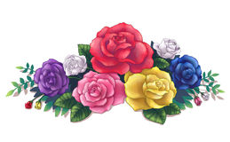 Colorful roses bouquet illustration art Stock Photos