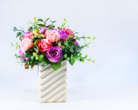 Colorful Roses Bouquet in Vase Stock Photography