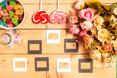 Colorful roses flowers and empty tag for your text with sweet Je Royalty Free Stock Images