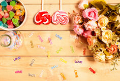 Colorful roses flowers with sweet Jelly, flavor fruit, candy hea Stock Photo
