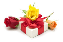 Colorful roses and gift box Royalty Free Stock Images