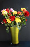 Colorful Roses in Green Vase Royalty Free Stock Photography