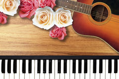 Colorful Roses with Romantic Valentine Love Song. Colorful Roses with Romantic Valentine Love Song for background use Royalty Free Stock Photos