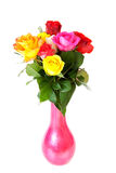Colorful roses in vase Royalty Free Stock Image