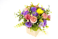 Colorful roses in a vase on white background and with clipping p Stock Images