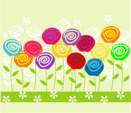 Colorful roses in vector. Seamless form backdrops for the design of fabrics and wallpapers in vector Royalty Free Stock Images