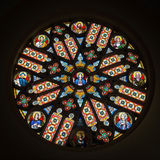 Colorful rosette in Basilica of Levoca, Slovakia Stock Image
