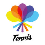 Colorful rotated tennis racquets logo. Design in rainbow colors Royalty Free Stock Photography