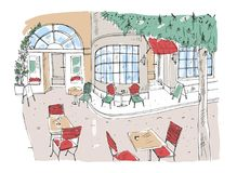 Colorful rough drawing of outdoor cafe, restaurant or coffeehouse with tables and chairs standing on city street beside beautiful. Colorful rough drawing of Stock Photo