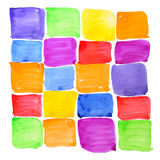Colorful rough paint samples. Abstract background. Colorful rough paint samples grid. Squared rainbow checker. Abstract background. Handmade on paper royalty free stock images