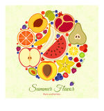Colorful round background. Different fruits and berries. Pattern with tree leaves at the back Royalty Free Stock Images
