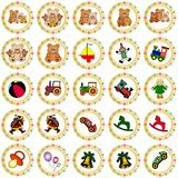 Colorful Round Badges With Toys Stock Images