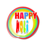 Colorful round banner for the Indian festival of colors with greeting inscription - Happy Holi. Holi lettering card. Vector illustration Stock Photography