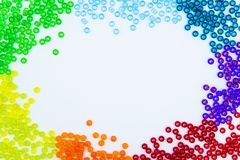 Colorful beads isolated on white background stock image