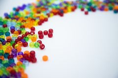 Colorful beads isolated on white background stock images