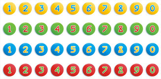 Colorful round buttons with numbers Stock Photo