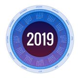 Colorful round calendar 2019 design, Print Template, Your Logo and Text. Week Starts Sunday. Portrait Orientation. 2019 vector illustration