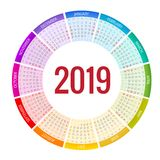 Colorful round calendar 2019 design, Print Template, Your Logo and Text. Week Starts Sunday. Portrait Orientation. 2019 royalty free illustration