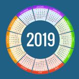 Colorful round calendar 2019 design, Print Template, Your Logo and Text. Week Starts Sunday. Portrait Orientation. 2019. Calendar of 12 Months Stock Images