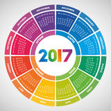Colorful round calendar 2017 Royalty Free Stock Image