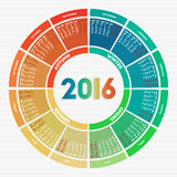 Colorful round calendar 2016 Stock Images