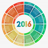 Colorful round calendar 2016. Week starts on Sunday Stock Images