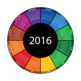 Colorful round calendar for 2016 year. Vector EPS10 royalty free illustration