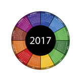 Colorful round calendar for 2017 year. Stock Photo