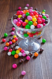 Colorful round candy in a glass vase Royalty Free Stock Photo