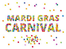 Colorful round confetti carnival Mardi Gras Party sign vector  Royalty Free Stock Images