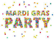 Colorful round confetti carnival Mardi Gras Party sign vector  Stock Images
