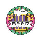 Colorful round emblem for beer festival. Abstract line art with grains, glass mug with alcoholic drink and foam Stock Images