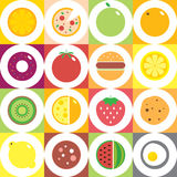 Colorful round fruits, vegetables, dishes and food icon set for market or cafe. Vector modern illustration, stylish design elememt Stock Photos