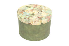 Colorful round gift box isolated on white background Royalty Free Stock Photo