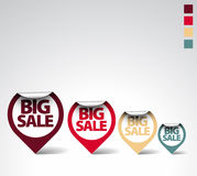 Colorful Round Labels / stickers for big sale. Retro colors Stock Photo