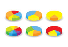 Colorful round pie graphs Stock Images