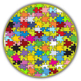 Colorful round puzzle. Illustration of a colorful round puzzle, made to look like a peace of a bigger mosaic Stock Photo