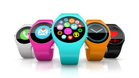 Colorful round smart watchs isolated on white background Stock Photo